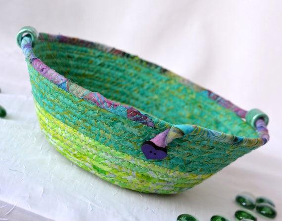 Modern Garden Basket, Ring Dish, Coiled Rope Bowl, Handmade Quilted Batik Basket, Green Catchall Basket, Yarn Bowl, Key Holder
