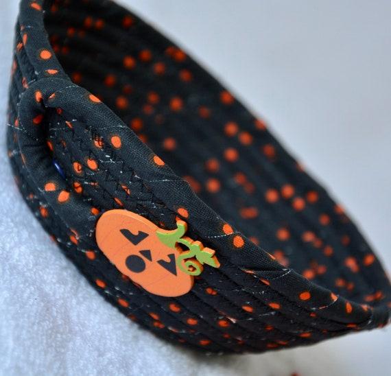 Halloween Party Basket, 1 Handmade Fabric Bowl, Candy Corn Holder, Halloween Ring Dish, Black Dot Dresser Tray, Potpourri  Bowl