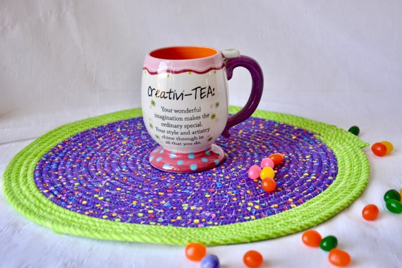 Girl Place Mat, Fun Purple Trivet, Handmade Hot Pad, Child Mug Rug, Fun Home Decor, Table Mat, Potholder, Table Topper, Runner