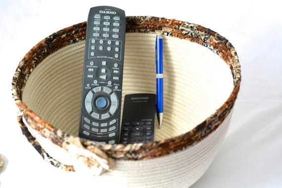 Coiled Rope Basket, Handmade Fiber Art Bowl, Hair Brush Organizer, Quilted Beige Basket, Remote Control Storage, Bathroom Home Decor