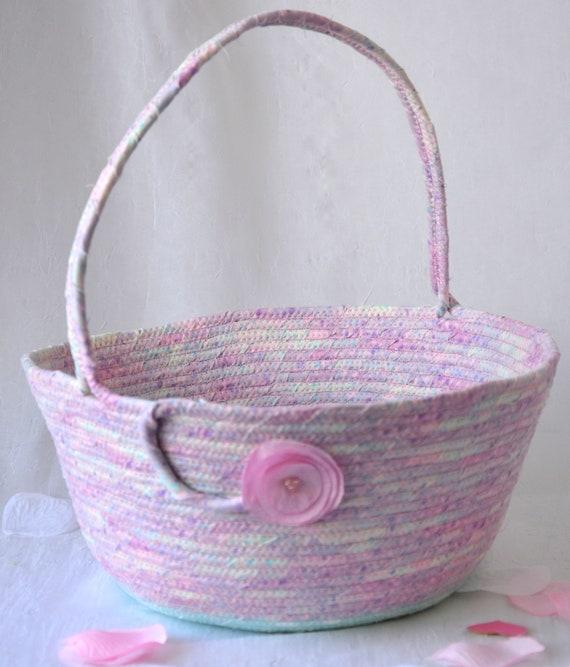 Girl Easter Basket, Spring Decoration, Pink and Aqua Flower Girl Basket, Handmade Artisan Quilted Basket, Baby First Easter Bucket