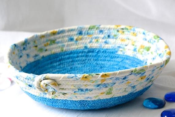 Shabby Chic Home Decor, Handmade Blue Basket, Cornflower Blue Ring Dish, Dresser Tray Bowl, Key Holder Tray, Catchall, Jewelry Tray