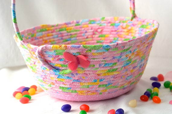 Baby Girl Basket, Pink Easter Basket, Flower Girl Basket, Handmade Wedding Basket, Nursery Organizer, Diaper Bin, Lotion Holder