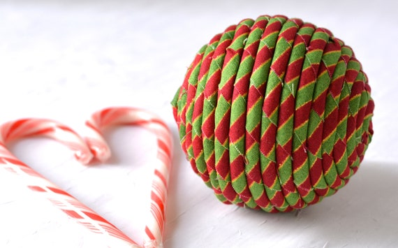 Christmas Ornament, Handmade Holiday Decoration, Red and Green Bowl Filler, Hand Coiled Fiber Christmas Ball,  Holiday Home Decor