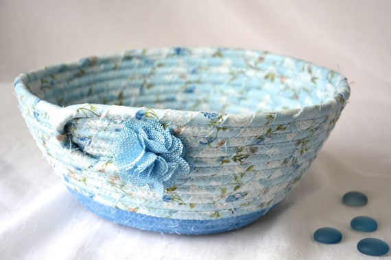 Blue Fruit Bowl, Handmade Country Basket, Shabby Chic Quilted Bowl, Cornflower Blue Bread Basket, Napkin Holder, Eyeglass Key Bowl