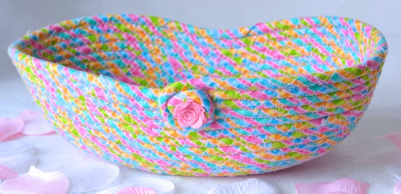 Pink Nursery Decoration, Hair Brush Holder, Spring Napkin Basket, Handmade Fabric Bowl, Bread Basket, Baby Gift Basket, Easter Decor
