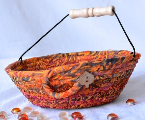 Textile Batik Basket, Key Bowl, Handmade Earth Tone Basket, Gift Basket, Batik Napkin Holder, Bread Basket, Kitchen Decoration