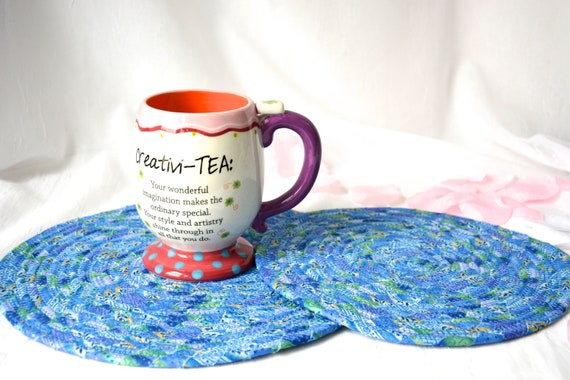 Blue Place Mats, Trivets, 2 Homemade Table Mats, Lovely Table Toppers, 2 Summer Hot Pads, Artisan Coiled Fabric Trivets