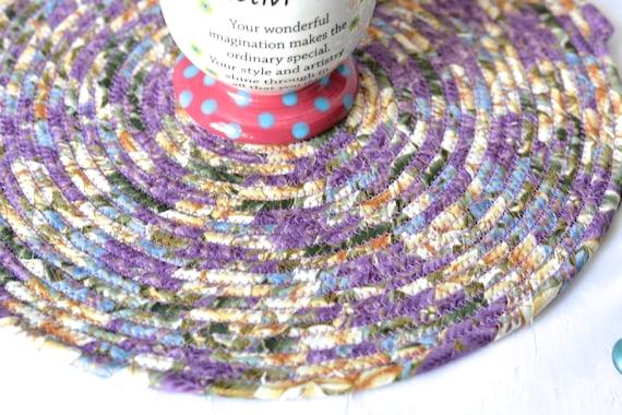 "Violet Place Mat, Handmade 12"" Hot Pad, Lavender Mug Rug, Lovely Lilac Table Topper, Purple Potholder, Table Runner, Rope Coiled"