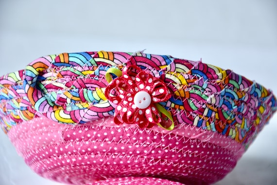 Pink Party Favor, Handmade Fabric Basket, Artisan Quilted Bowl, Rainbow Ring Dish, Cute Potpourri Dish, Quilted Bowl Home Decor