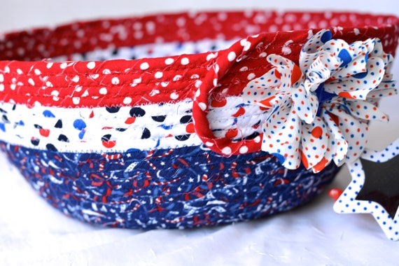 4th of July Decor, Patriotic Basket, Handmade Red White and Blue Party Bowl, Chip Bowl, Picnic Gift Basket, Patriotic Decoration