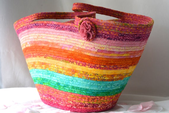 Textile Art Basket, Gorgeous Tote Bag, Handmade Batik Fabric Basket, Fiber Rope Basket, Laptop Purse Case, Unique  OOAK, Gift Basket