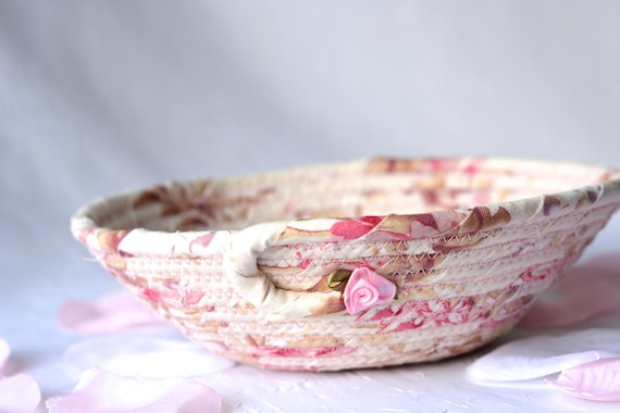 Shabby Chic Floral Basket, Handmade Pink Bowl, Ring Dish, Makeup Organizer, Cute Desk Accessory, English Garden Gift Basket