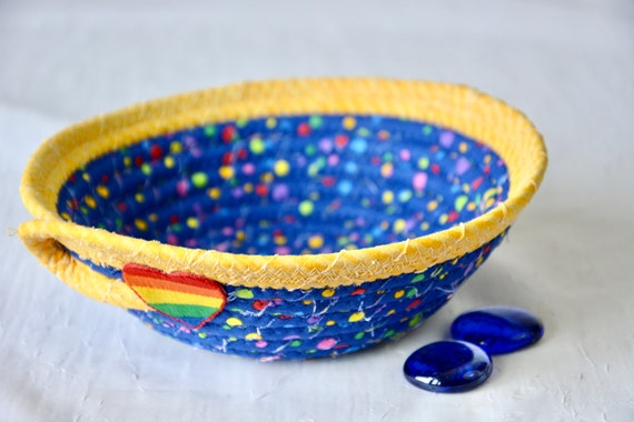 Fun Rainbow Basket, Handmade Quilted Basket, Cute Blue and Yellow Coiled Basket, Candy Dish, Toy Bowl