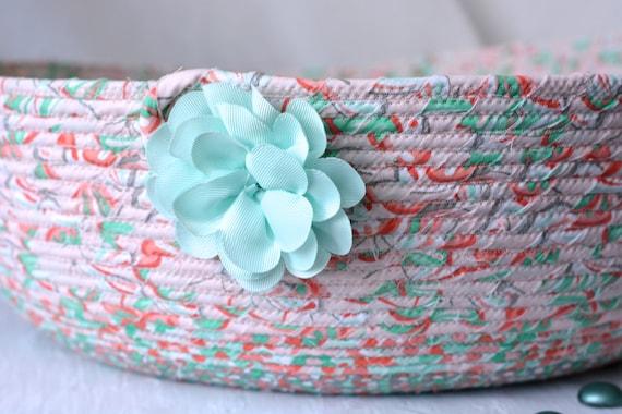 Mint Blanket Bin, Handmade Round Basket, Hat Bin, Knitting Yarn Holder, Beautiful Home Decor, Pillow Storage Organizer, Pretty Toy Bin