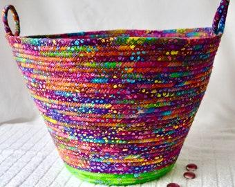 Handmade Batik Fabric Basket, Gorgeous Yarn Holder, Office Waste Basket, Paper Recycle Bin, Shawl Bin, Scarf Holder, Sweater Bin