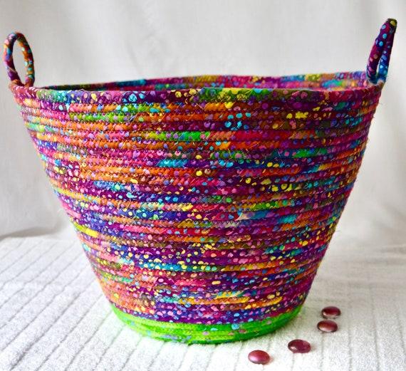 Paper Recycle Bin, Handmade Batik Fabric Basket, Gorgeous Yarn Holder, Office Waste Basket, Blanket Bin, Scarf Holder, Sweater Bin
