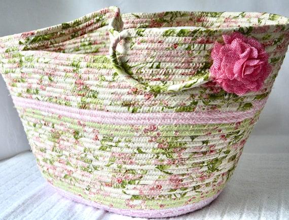 Pink Beach Bag, Tote Bag, Handmade Moses Basket, Lovely Storage Organizer, Shawl Holder, Wine Carrier, Picnic Basket, Towel Caddy