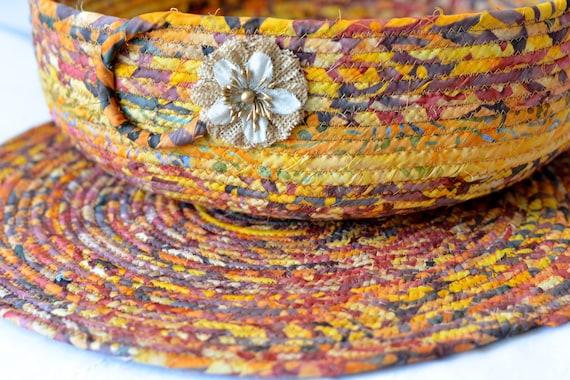 "Fall Indian Corn Decoration, Gorgeous Batik Basket and Matching 14"" Trivet, Handmade Centerpiece Bowl Set, Autumn Foliage Decoration"