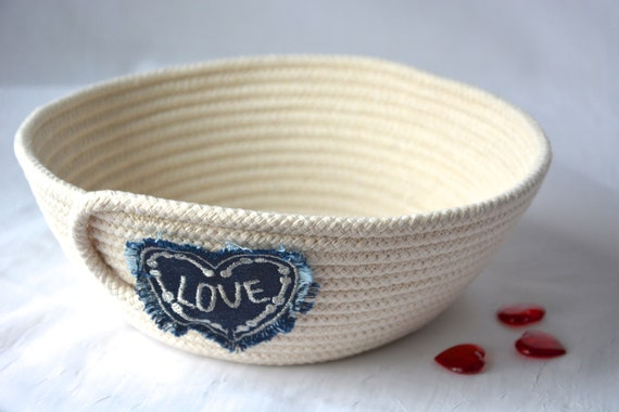 Country Beige Decor, Handmade Quilted Basket, Farmhouse Clothesline Basket, Upcycled Jean Bowl, Love it, Minimalist Natural Rope Bowl