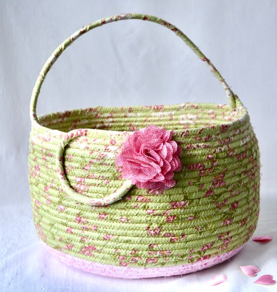 Beautiful Bolga Basket, Storage Container, Handmade Textile Art Basket, Designer Rope Basket with handle, Green Chic Fabric Bin