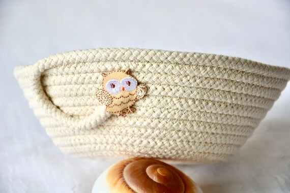 Owl Home Decor, Neutral Beige Dish, Handmade Owl Decoration, Potpourri Holder, Key Bowl, Cute Owl Candy Basket, Ring Dish Tray
