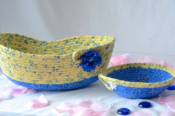 Lovely Coiled Basket Set, Sale... 4 Handmade Quilted Baskets, Lovely Blue and Yellow Artisan Baskets, Beautiful Decorative Home Decor Bowls