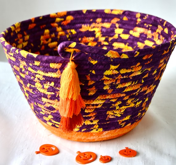 Halloween Candy Bucket, Purple Batik Basket, Handmade Fruit Bowl, Fall Orange Decoration,  Fall Bread Basket, Napkin Holder
