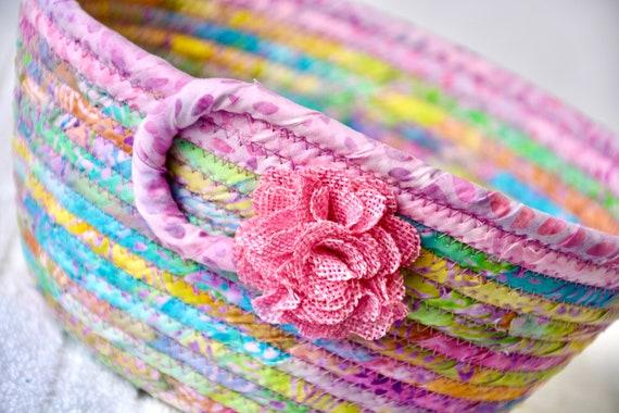 Pink Fruit Bowl, Handmade Mauve Batik Basket, Decorative Key Basket, Lovely Gift Basket, Catchall, Yarn Bowl, Napkin Holder, Bread Basket