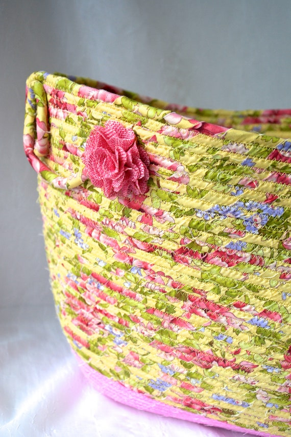 Waste Paper Basket, Handmade Shabby Chic Basket, Recycle Paper Bin, Powder Room Decor, Pretty Office Receptical, Floral Basket