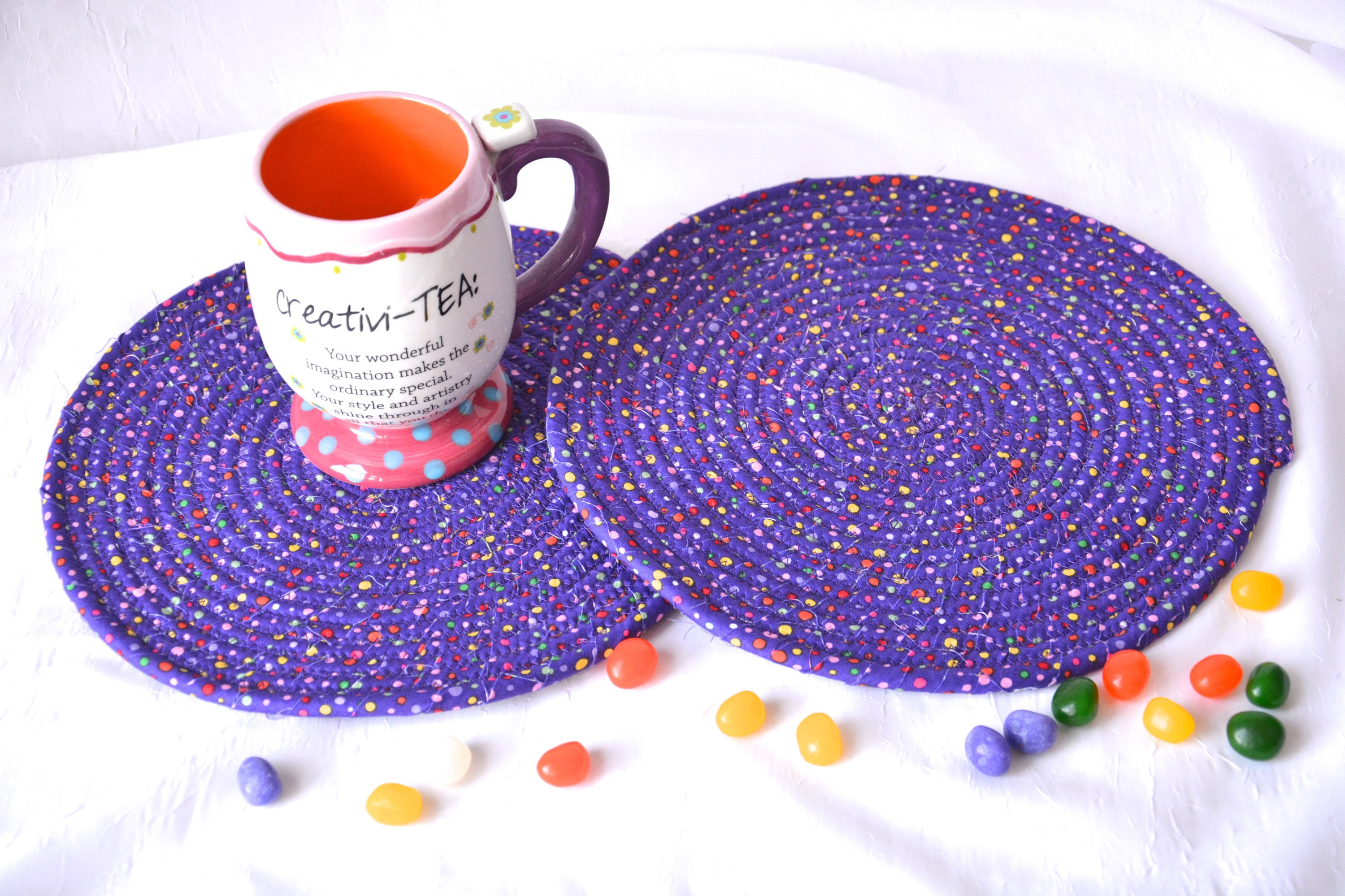 Easter Place Mats 2 Fun Spring Trivets Quilted Hot Pads Purple Mug Rugs Potholders Modern Table Toppers Table Runner