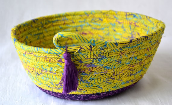 Textile Art Bowl, Handmade Batik Basket, Decorative Rope Basket, Lovely Fruit Bowl, Catchall, Yarn Bowl, Napkin Holder, Bread Basket