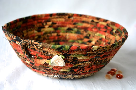 Fall Leaf Decor Basket, Handmade Fabric Bowl, Autumn Gift Basket, Napkin Holder, Thanksgiving Fruit Bowl, Table Home Decor, Decoration