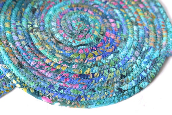 Batik Place Mats, 2 Handmade Blue Fabric Hot Pads, 2 Beautiful Trivets, Table Toppers, Rustic Coiled Rope Potholders, 2 Placemats
