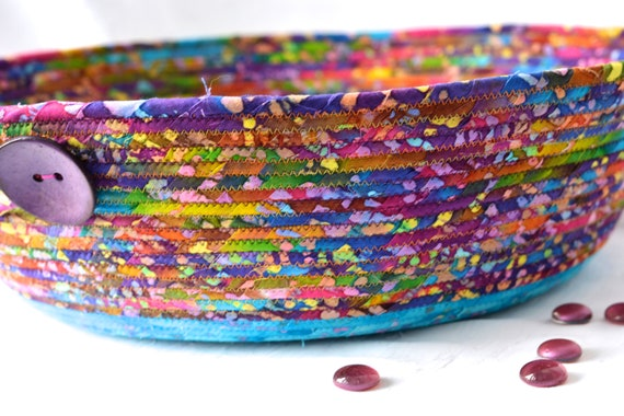Bohemian Batik Basket, Handmade Blanket Holder, Boho Fabric Basket, Paper Recycle Bin, Mail Bin, Toy Shoe Storage Organizer, Container