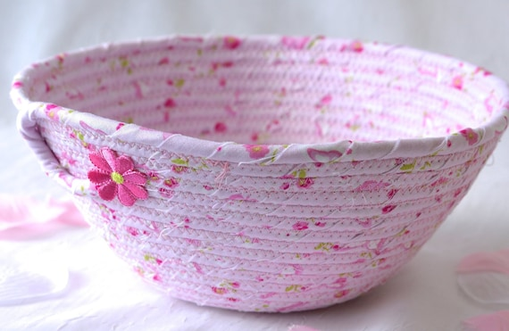 Shabby Chic Basket, Handmade Pink Bowl, Pretty Girl Room Home Decor, English Garden Gift Basket, Spring Home Decor, Phone Wallet Holder