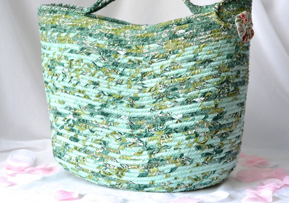 Beach Tote Bag Purse, Handmade Coiled Rope Basket, Green Moses Basket, Lovely Storage Organizer, Knitting Project Bag,  Gift Basket