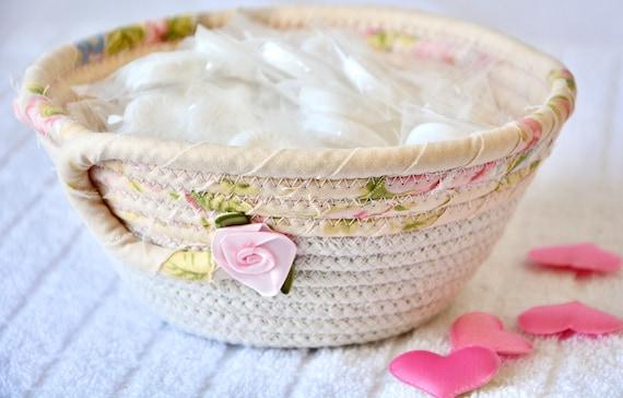 Lovely Key Basket, Handmade Rose Bowl, Floral Ring Dish, Beige Potpourri Bowl, Cute Desk Accessory, Candy Dish, Gift Basket