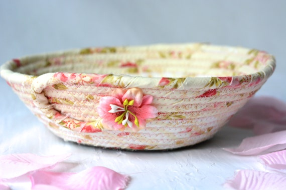 Shabby Chic Basket, Handmade Pink Bowl, Floral Ring Dish, Makeup Organizer, Cute Desk Accessory, English Garden Gift Basket