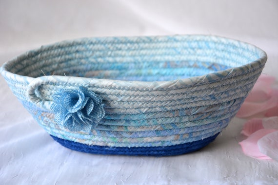 Remote Control Holder, Handmade Artisan Bowl, Hand Coiled Rope Basket, Beautiful Oval Bowl, Blue Fabric Bowl, Eyeglass Tray