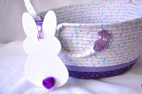 Easter Basket, Handmade Girl Easter Bucket, Violet Easter Decor, Purple Easter Decoration, Baby First Easter Egg Hunt Bag, Free Name Tag
