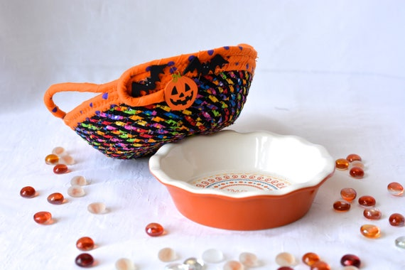 Pumpkin Party Dip Bowl, Candy Dish, Fall Halloween Decoration, Ceramic Dip Bowl and Basket Set, Coiled Rope Basket