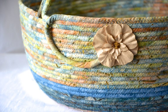 Bolga Decorative Basket, Handmade Textile Art Basket, Coiled Rope Basket with handle, Country Blue Fabric Bin, Cottage Chic Basket