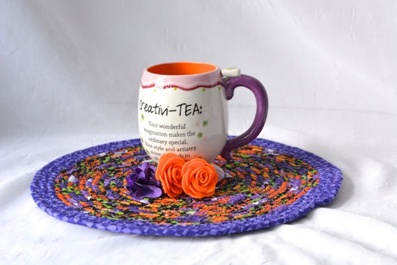 """Quilted Kitchen Trivet 12"""", Halloween Decoration, Handmade Purple Mug Rug, 12""""  Place Mat, Lovely Black and Purple Table Mat"""