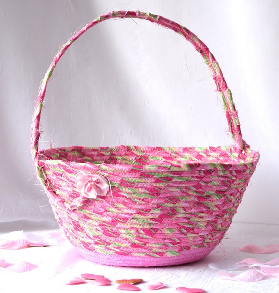 Easter Basket, Spring Home Decor, Handmade Coiled Fabric Bowl, Pretty Sateen Easter Bucket, Textile Art Basket, Quilted Coiled