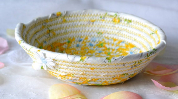 Yellow Spring Basket, Cute Ring Dish, Handmade Floral Basket, Mother's Day Gift, Shabby Chic Desk Accessory, Rope Coiled Bowl