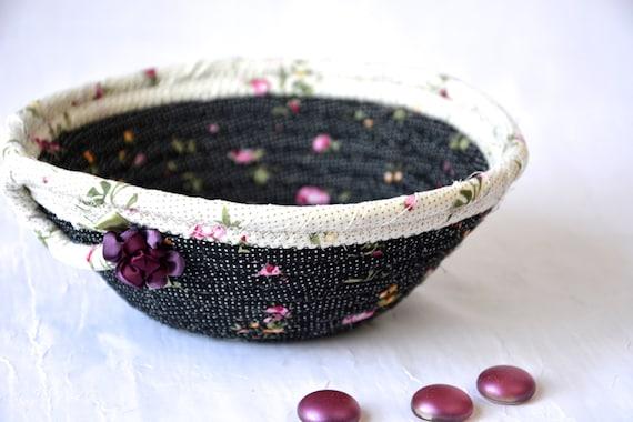 Ring Dish Tray, Handmade Makeup Organizer, Cute Potpourri Basket, Phone, Wallet, Key Holder, Shabby Chic Pink Basket