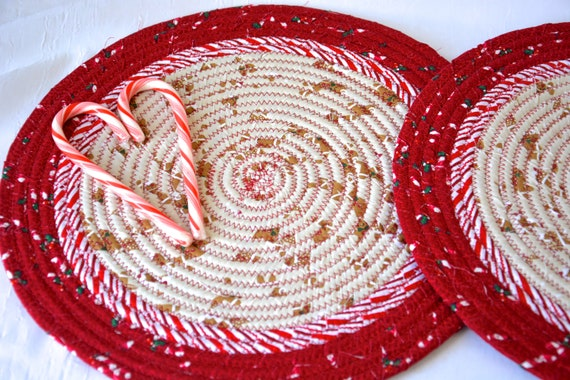 "Gingerbread Place Mats, Christmas Trivets, 2 Handmade 12"" Quilted Potholders, Table Topper, Christmas Holiday Table Runner, Trivet"