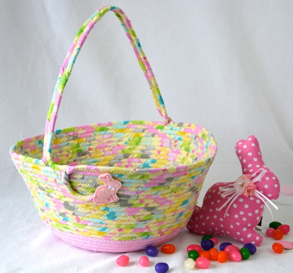 Girl Easter Basket, Easter Egg Hunt Tote Bag, Fun Easter Bucket, Handmade Baby Toy Holder, Cute Spring Decoration, Free Name Tag