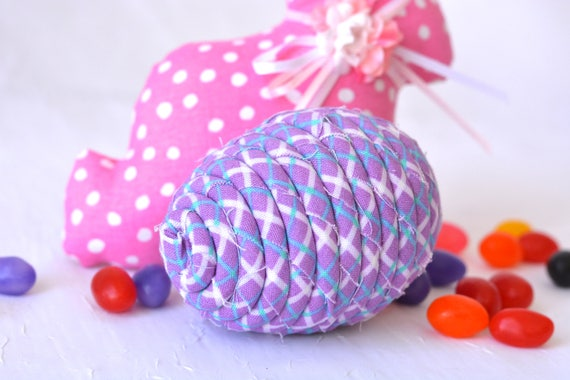 Easter Egg Ornament, Handmade Lilac Easter Egg Decoration, Lavender Fabric Egg, Easter Egg Hunt, Hand Coiled Fiber Easter Egg